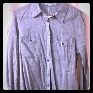 Maurices Button Down Grey/Blue Shirt